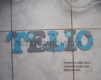 child room decoration and baby / door / name to stick / wooden name / letter to paste / letter decorative star THEME