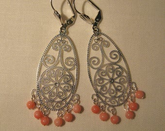 Lightweight filigree silver and pink coral beads