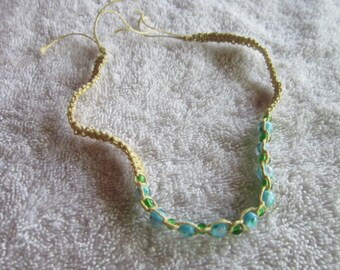 Retro 1970's Macrame Art Glass Beaded Choker Necklace