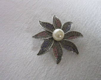 Antique Large Silver Tone Rhinestone & Faux Pearl Flower Brooch Designer Signed