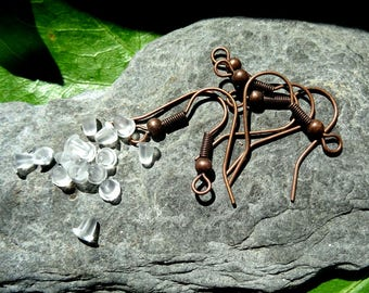 pure copper, 3 pairs (6 PCs) oxidized earrings
