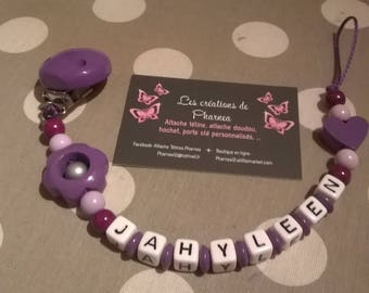 Pacifier clip personalized with name flower lilac violet purple heart lollipop
