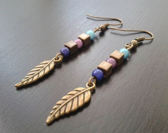 Feather earring magic pearls