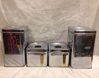 1950s Lincoln Beautyware Chrome Canister/Container Set (Flour, Sugar, Coffee, Tea)