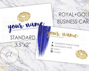 Lipsense Business Cards ROYAL+GOLD - lipsense distributor - makeup artist