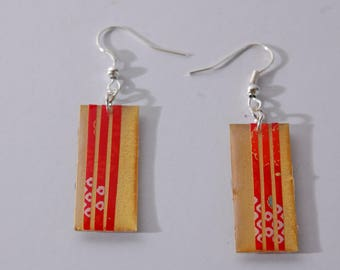 Earrings Asian, ground, red, gold