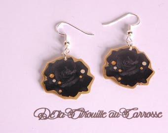 Black and Gold Flower Earrings