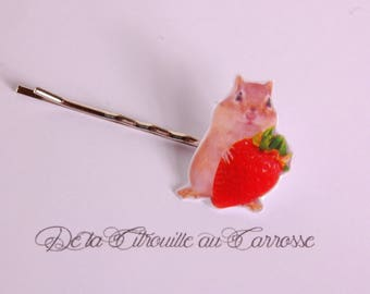 Hamster and strawberry hair clip