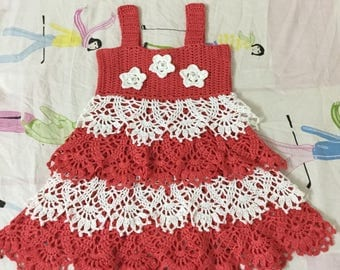 The small Coral Princess crochet ruffle dress