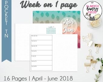 Week on 1 Page Apr - Jun '18 | Pocketl TN | Digital Download | Travelers Notebook | Field Notes | April May June 2018 WO1P