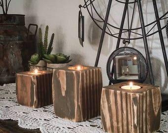 3piece Wooden candle votives