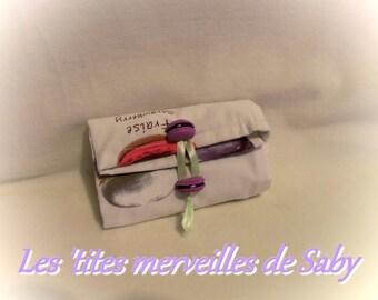 "bag has foldable ""macaroon"" ecru embroidered"