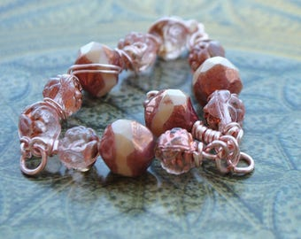 Pink pendant in copper and gold Czech beads