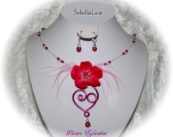 Necklace cherry blossom heart scrollwork fuschia & feathers + BO beads - wedding party evening