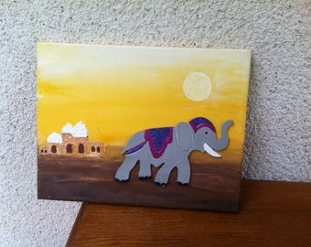 Table African Elephant 3D in the desert