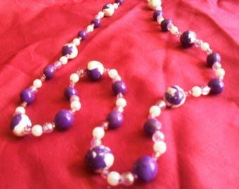White and purple polymer clay necklace and beads