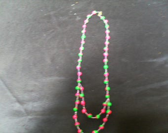 colorful and original necklace pink and green