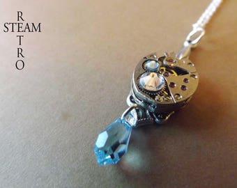 Aqua Marine necklace Steampunk by Steamretro