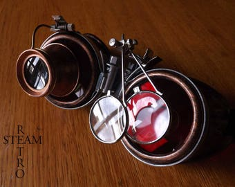 steampunk copper with magnifying glasses learned crazy cyber goggles burning man steampunk accessories