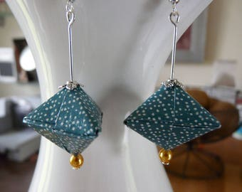 Origami paper blue and white dot stuffed earrings