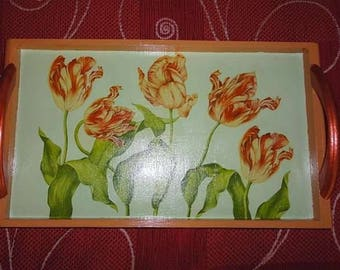 Small wooden tray decorated with collage of paint and paper towel