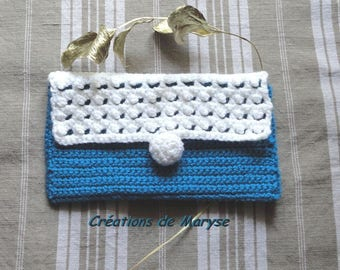 Crochet bag pouch handmade blue and white
