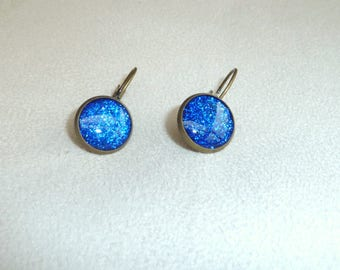 "Earrings ""sleepers"" bronze and blue"