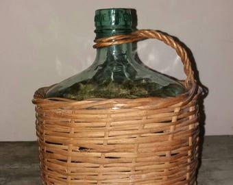 Vintage BANDEIRA Glass Bottle In Woven Wicker Basket,Decor,Drink,Decoration,Gift,Wine