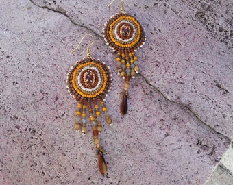 """Embroidered earrings """"Camel"""""""