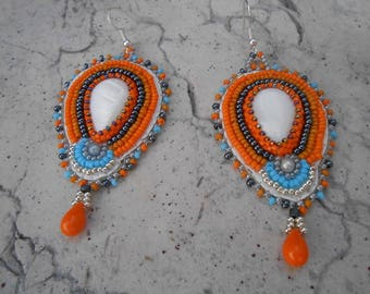 """Embroidered """"beautiful pearls"""" beaded earrings"""