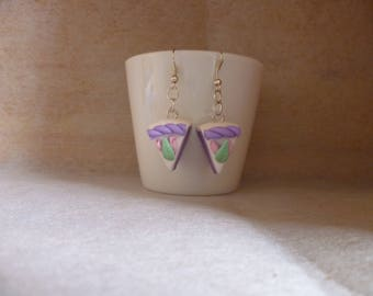 Pieces of cake earrings violet