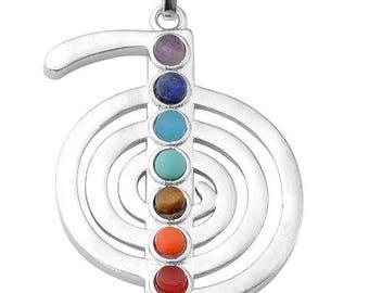 Cho ku rei silver plated - 7 chakra pendant