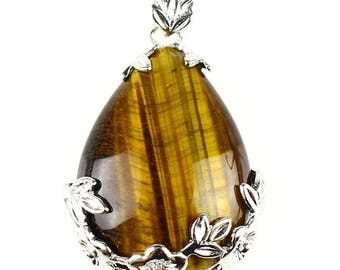 Pendant drop of nature in silver plated - Tiger eye