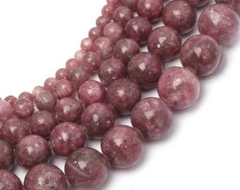 Pink tourmaline (rubellite) 8 x 10 mm round bead