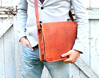 Briefcase laptop bag, leather, leather satchel shoulder bag