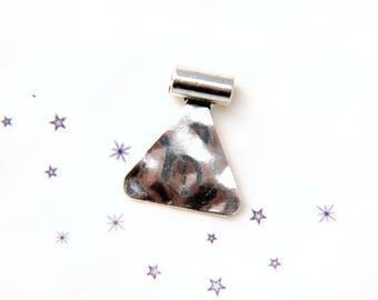 from hammered silver triangle bead