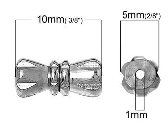 10 * 5 mm set of 2 silver screw clasps