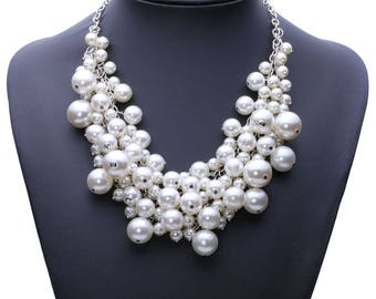 Wedding jewelry silver plated acrylic Bead Necklace