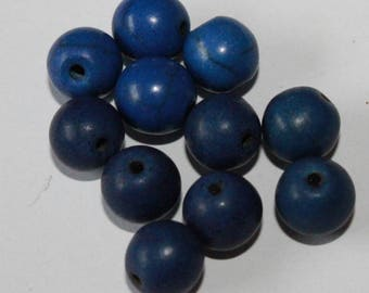 Stone, blue, 8mm, set of 10 beads