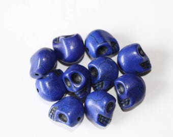 Pearl skull 12 mm, blue, set of 10