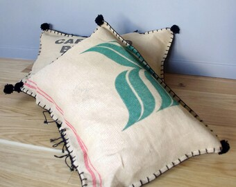 Burlap coffee bag vintage floor cushion pattern sheet