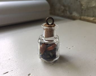 """All That Glitters Is Gold // Lavender & goldstone in a corked glass vial necklace on a 24"""" chain"""