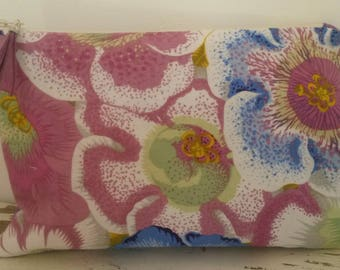 Cosmetic case pink and blue cotton Bohemian spirit