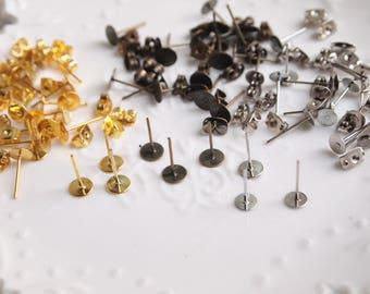 20pcs Ear Posts, Ear Studs with Ear backs// Bronze, Silver, Gold