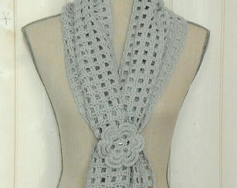 Scarf grey wool hand crocheted sparkly beads