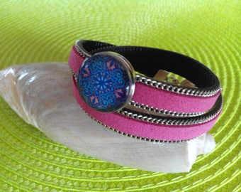Bracelet two turns pink snap chunk