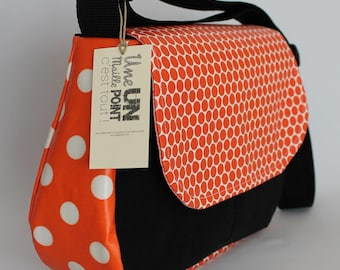 satchel style Briefcase cotton coated small and large orange tablets