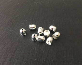 100 bead caps 10X8mm silvered Metal
