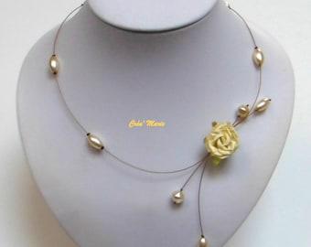 Wedding flower ivory Co343 necklace