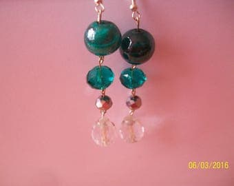 earring 4 silvery green and clear glass beads